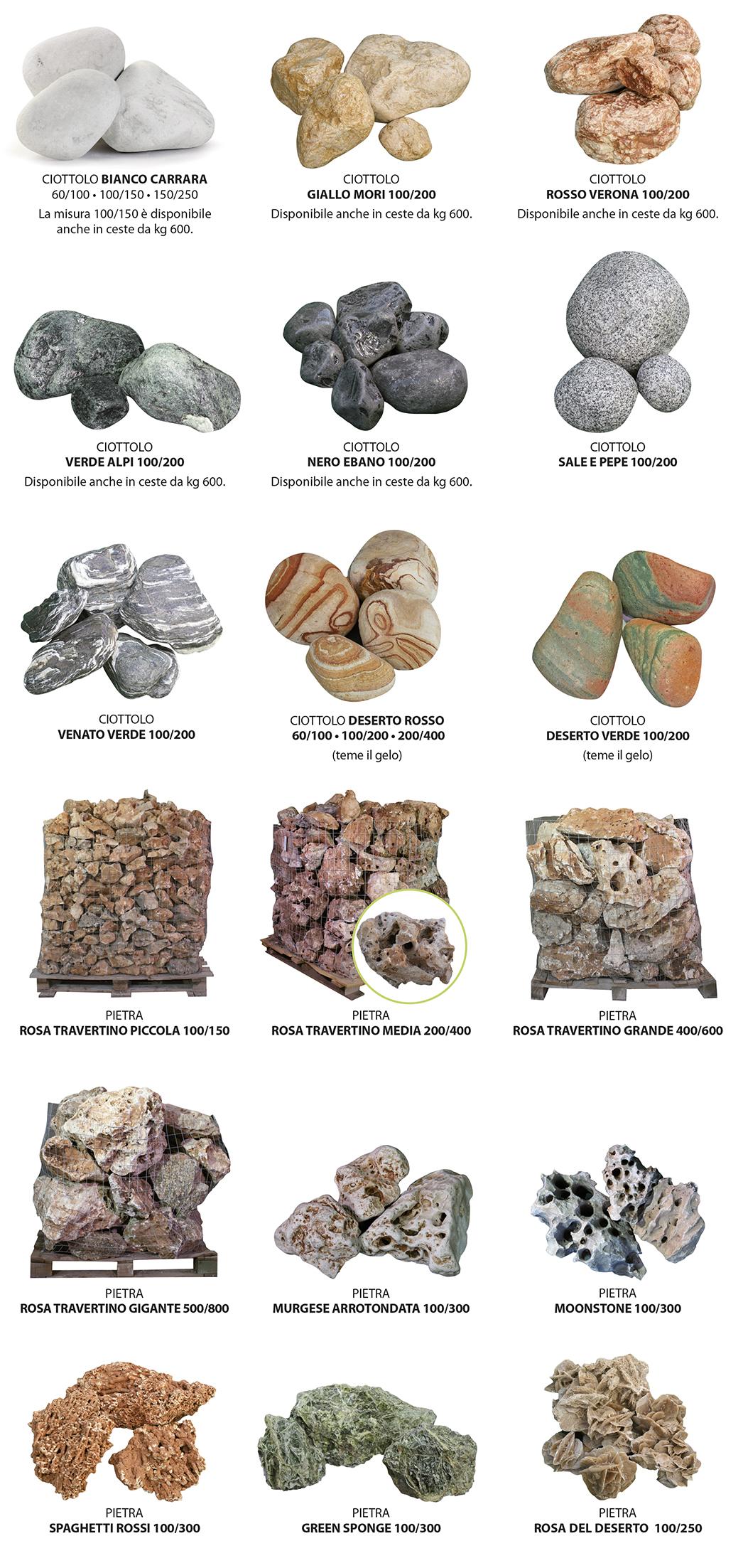 ciottoli e pietre in ceste